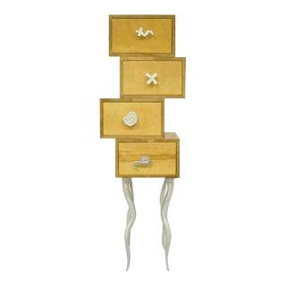 Trout Studios Grisette Cabinet Birch Wood Aluminum Chest For Sale