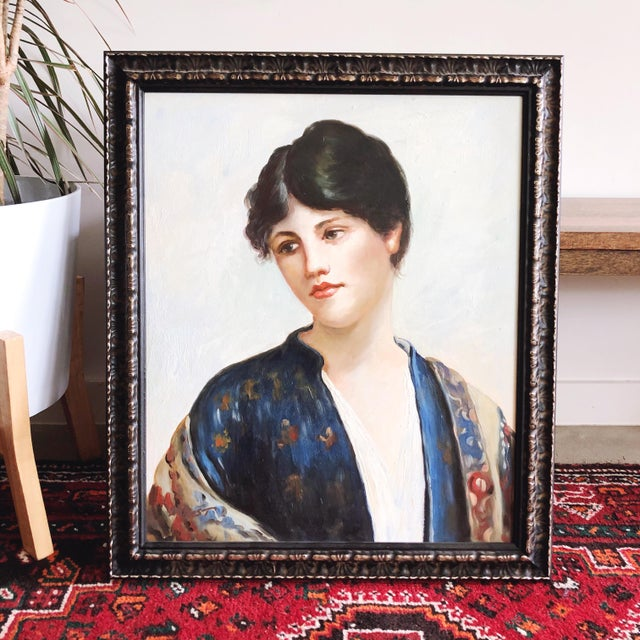 Figurative Vintage Oil Painting Portrait of a Woman For Sale - Image 3 of 10