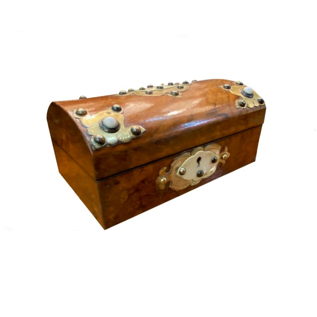 Rustic European 19th Century Dome Top Box With Ivory and Brass For Sale - Image 3 of 7