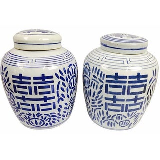 Double Happiness Ginger Jars - A Pair For Sale
