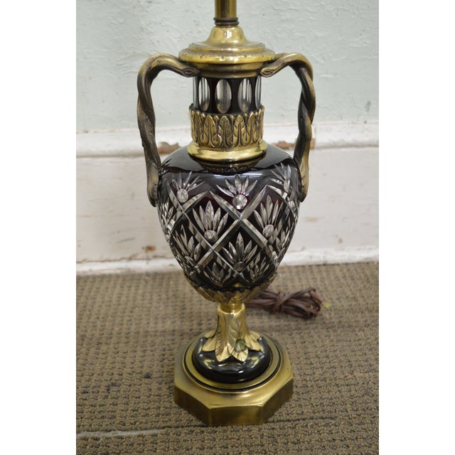 Bohemian Czech Ruby Red Crystal Cut to Clear Bronze Table Lamp For Sale - Image 12 of 13