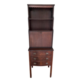 Vintage Chippendale Style Miniature Secretary Desk For Sale