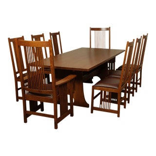 Stickley Mission Collection Oak 9 Piece Dining Set; Trestle Table, 8 Spindle Chairs For Sale