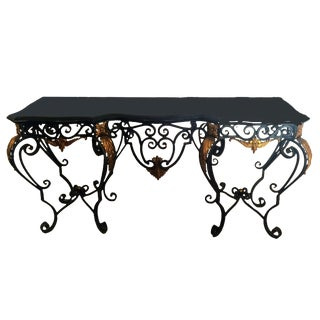Maitland Smith Tessellated Black Marble Brass and Wrought Iron Console Table For Sale