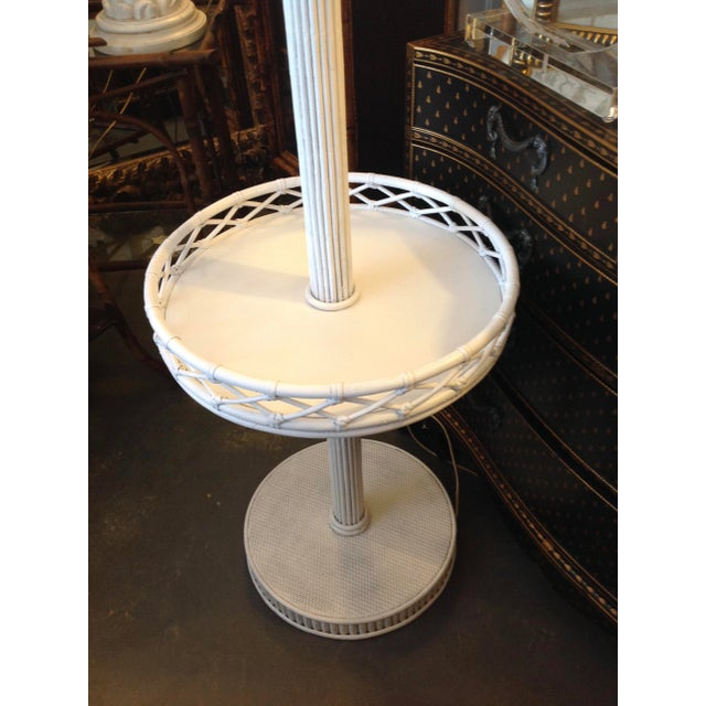 1930s Pencil Reed Floor Lamp Table For Sale - Image 11 of 13