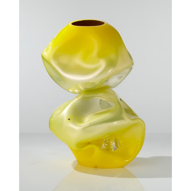 Unique crumpled sculptural double vessel For Sale - Image 5 of 5