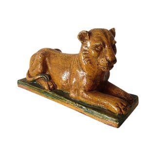 Italian Glazed Terra Cotta Panther in Repose For Sale