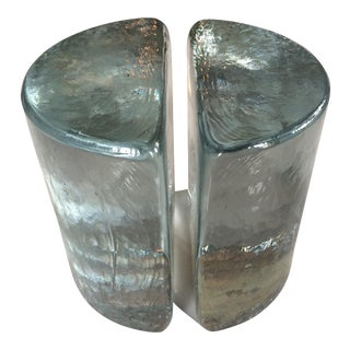 Blenko Mid Century Heavy Glass Bookends - a Pair For Sale