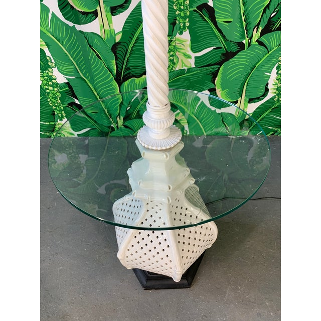 Floor lamp by Nardini features ceramic base in reticulated lattice with faux bamboo detailing. Glass table top and carved...