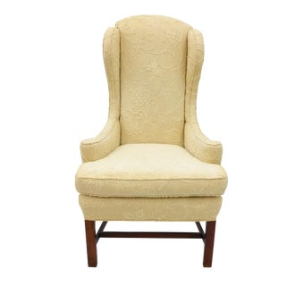 Vintage French Crewel Embroidered Arm Chair For Sale