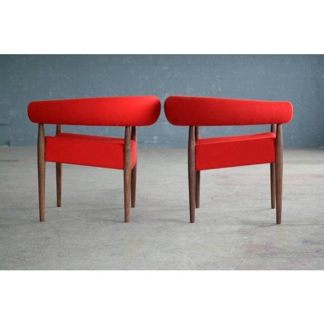 Textile Pair of Nanna Ditzel Ring Chairs in Walnut and Wool for GETAMA For Sale - Image 7 of 10