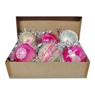 1960's Vintage Shiny Brite & Poland Pink Christmas Tree Ornaments - Set of 6 For Sale