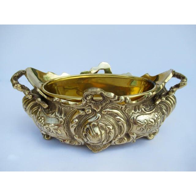 Vintage Brass Ornate Planter W/Brass Interior Liner For Sale - Image 4 of 13