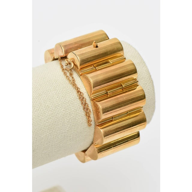 Art Deco Modernist Style Gold Plated Channeled Cuff Bracelet For Sale - Image 9 of 10