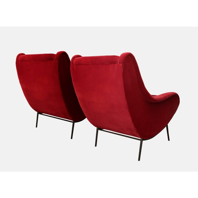 Contemporary Italian Style Sculptural Armchairs in Plush Red Velvet - a Pair For Sale - Image 3 of 6