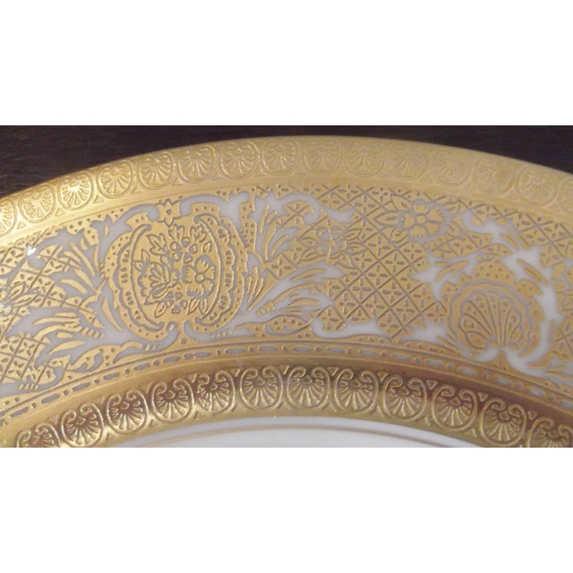 1920s Set of 12 Gold Encrusted Floral Service Cabinet Plates For Sale - Image 5 of 9