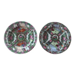Vintage Qing Dynasty Rose Medallion Plates - a Pair For Sale