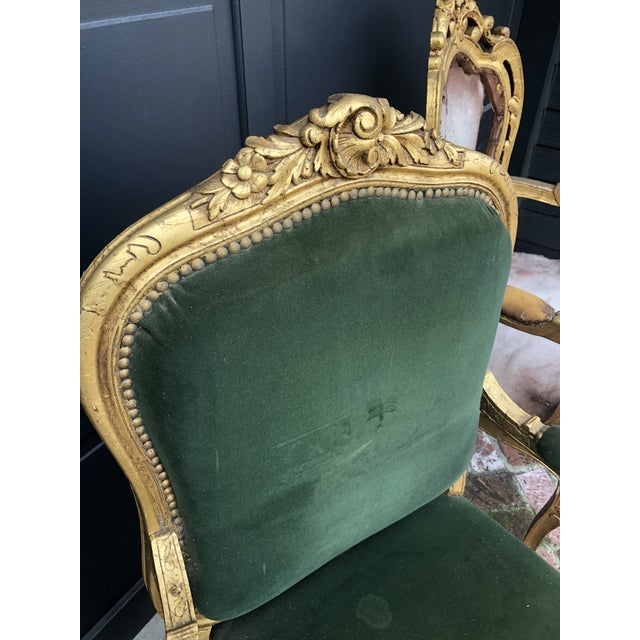 French Antique Gold Painted Louis Style Bergere Arm Chair For Sale - Image 3 of 7