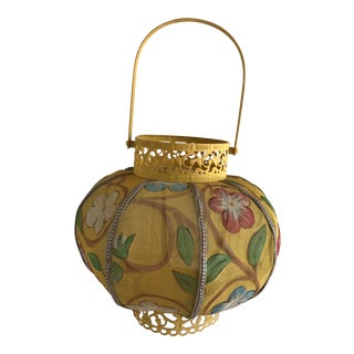 Boho Floral Painted Asian Lantern For Sale