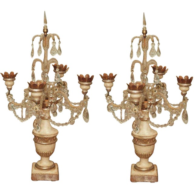 Pair of Italian Girandole Candelabras with beaded crystal arms and pendants.