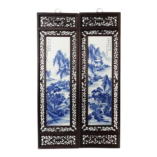 Lg Chinoiserie Blue and White Porcelain Wood Panels - a Pair For Sale