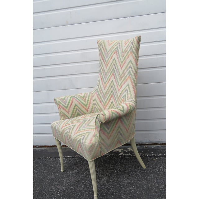 Vintage Painted Tall Pair of Living BedRoom Fireplace Side Chairs For Sale - Image 4 of 13