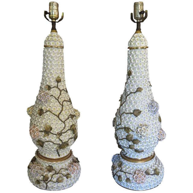 German Schneeballen Porcelain Covered Lamps - a Pair For Sale