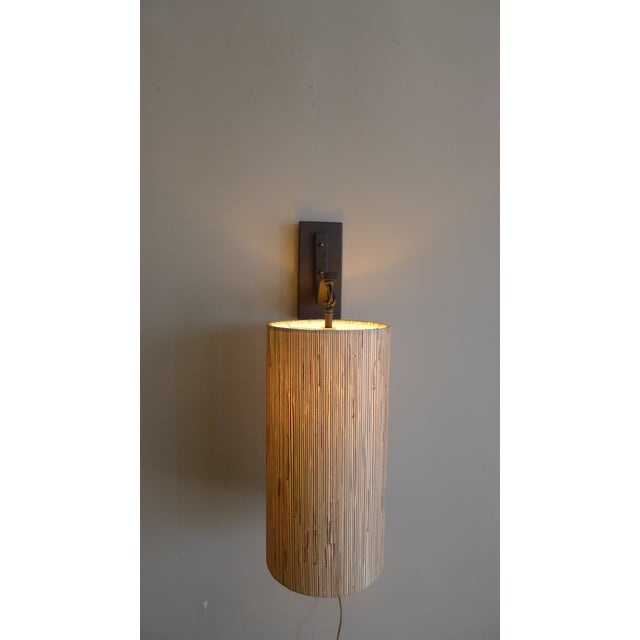 Modern Modern Sconce with Custom Grasscloth Shade For Sale - Image 3 of 9