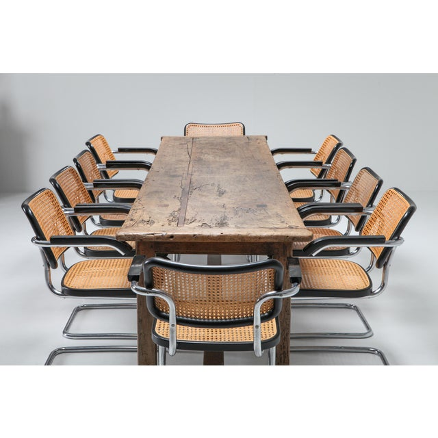 1800s Rustic Modern Refactory Oak Dining Table For Sale - Image 4 of 13