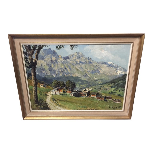 Village Mountain Scene Oil Painting Signed E Rosset For Sale
