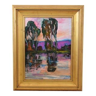 Santa Barbara California Impressionist Landscape Seascape Painting by Juan Guzman For Sale