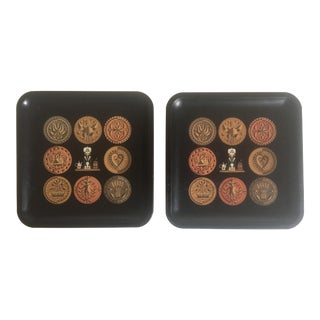 Vintage Mid-Century Black Square Enamel Metal Pharmacy Trays - Set of 2 For Sale