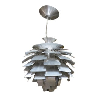 Vintage 1980s Mid-Century Modern Style Aluminum Artichoke Hanging Lamp For Sale