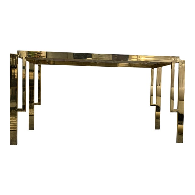 Mid Century Modern Gold Chrome & Glass Console Table For Sale