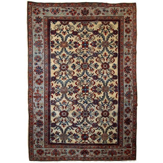 1900s Handmade Antique Persian Mahal Rug 9.2' X 11.6' For Sale