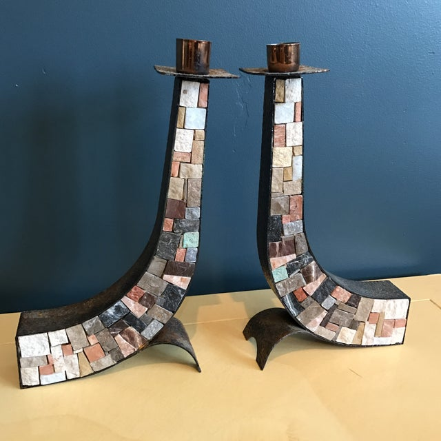 Stone & Copper Mosaic Shabbat Candlesticks - A Pair - Image 4 of 6