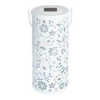 Outdoor Solar Punched Metal Bloom Lantern in White For Sale