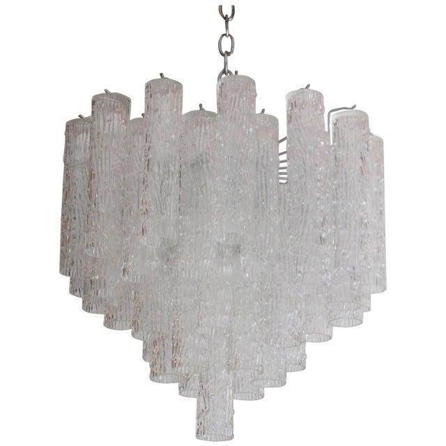 "Transparent Venini ""Tronchi"" 40 Crystal Chandelier For Sale - Image 8 of 8"