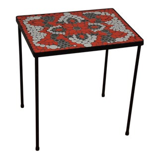 Red Tile & Iron End Table For Sale
