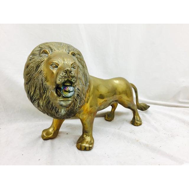 Vintage Brass Lion Sculpture For Sale - Image 10 of 10