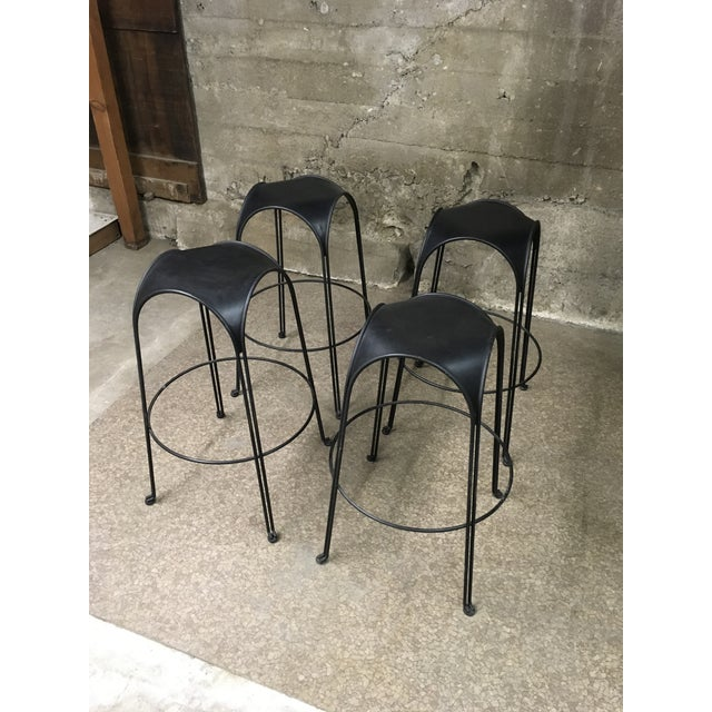 1980s Modern Iron Barstools With Black Leather Tops- Set of 4 For Sale - Image 10 of 11