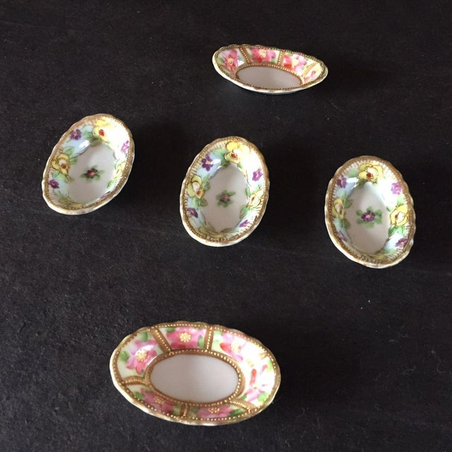 Antique Hand Painted Porcelain Floral Salt & Pepper Dishes - Set of 5 For Sale In New York - Image 6 of 8