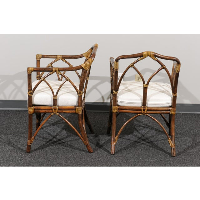 Wood Chic Restored Set of 8 Modern Arm Dining Chairs by McGuire, circa 1975 For Sale - Image 7 of 13