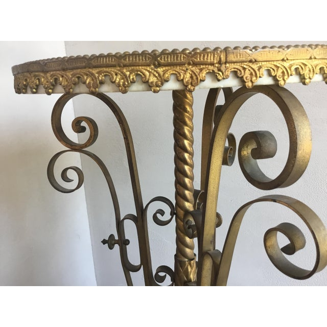 Traditional Gold Cocktail Side Table With Marble Top For Sale In Los Angeles - Image 6 of 9