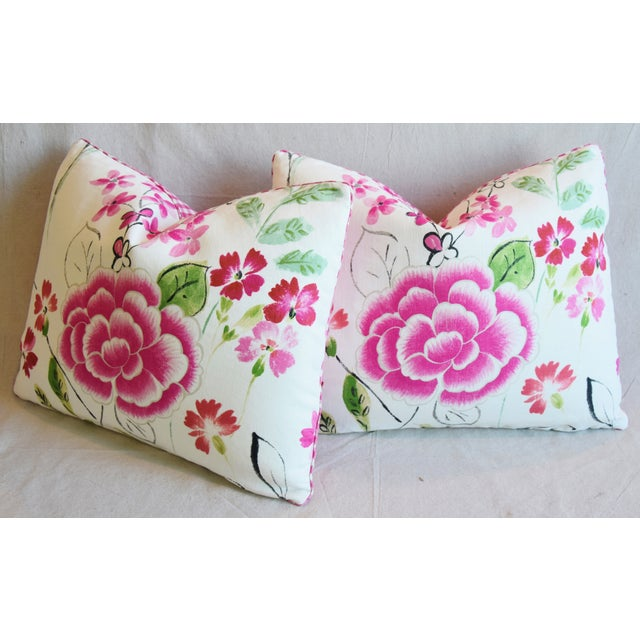 """French Manuel Canovas Floral Linen Feather/Down Pillows 23"""" X 17"""" - Pair For Sale - Image 9 of 13"""