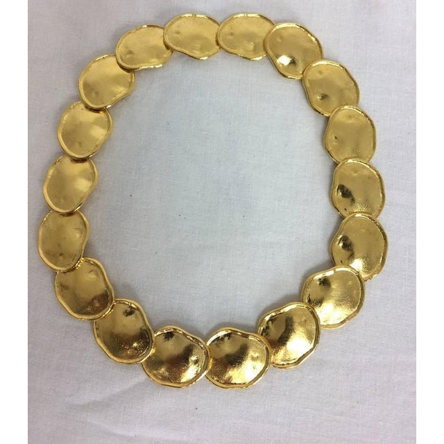 KJL Kenneth J Lane gold artisan inspired necklace...Hand crafted look each piece is irregular in shape with a raised...
