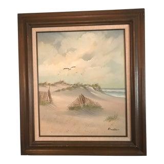 Circa 1960 Framed Beach Scene Painting For Sale