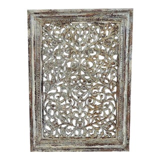 White Distressed Carved Wood Panel For Sale