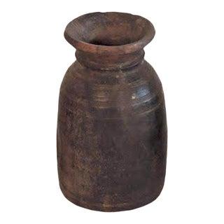 Vintage Teak Wood Oil Pot For Sale