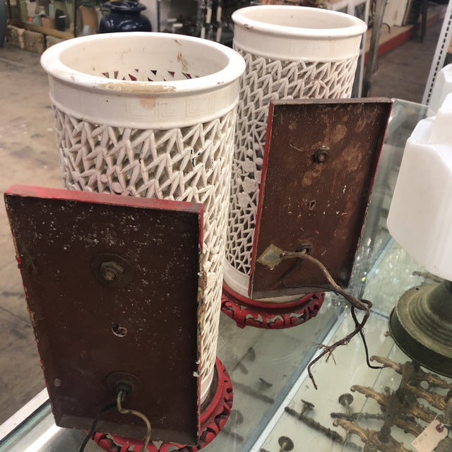 Glass 1930s Antique Porcelain Chinese Bamboo Silhouette Lanterns - A Pair For Sale - Image 7 of 13
